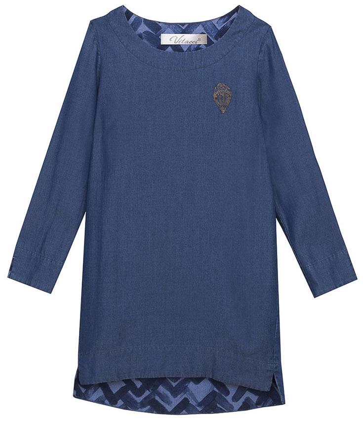Платье для девочки Vitacci, цвет: синий. 2171094-04. Размер 1462171094-04