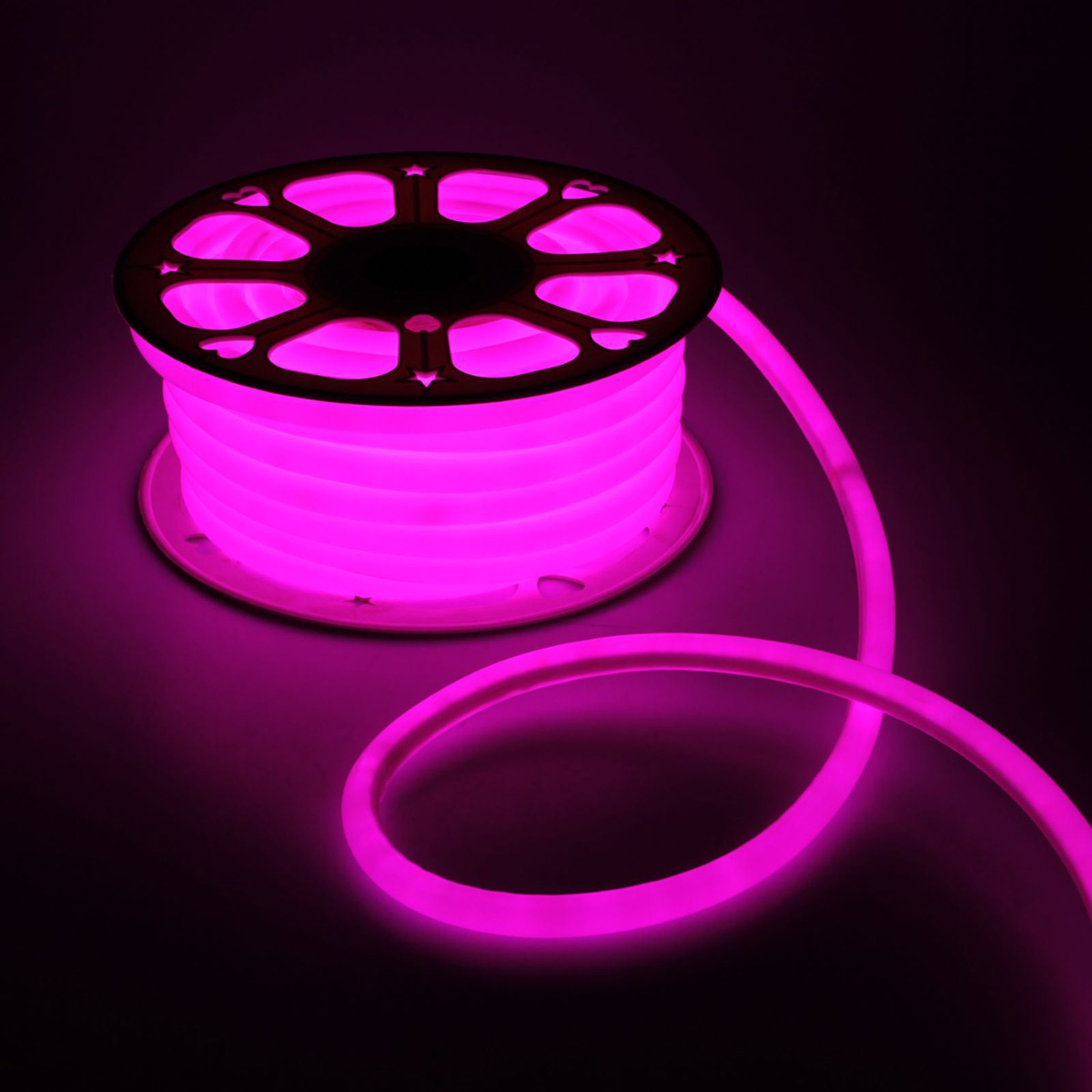 Гирлянда светодиодная Luazon, 120 ламп, 220 V, цвет: розовый, 1,6 см х 25 м. 1431300 гирлянда luazon дождь 2m 6m multicolor 671678