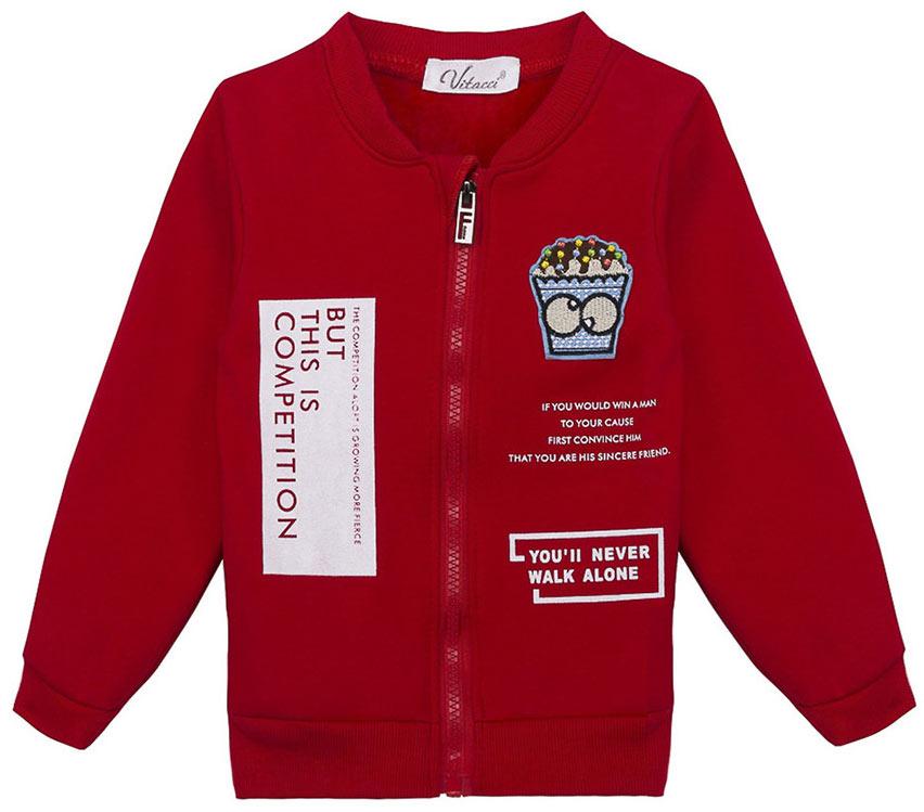 Куртка для девочки Vitacci, цвет: красный. 2171154-05. Размер 1162171154-05Куртка для девочки Vitacci, выполненная из высококачественных материалов, оформлена спереди стильным принтом. Модель с круглым вырезом горловины и длинными рукавами, застегивается по всей длине с помощью молнии. Изделие дополнено на манжетах и по низу, резинкой.
