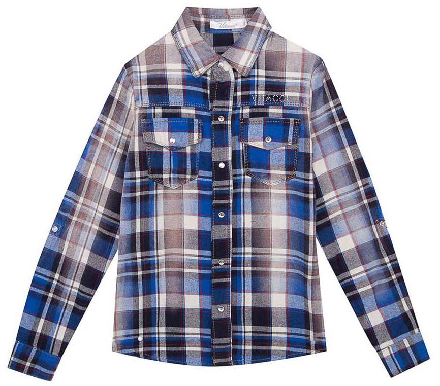 Рубашка для мальчика Vitacci, цвет: синий. 2171216-04. Размер 1582171216-04Рубашка для мальчика Vitacci выполнена из хлопка с добавлением полиэстера. Модель с отложным воротником и длинными рукавами застегивается по всей длине с помощью пуговиц. Рукава дополнены манжетами на пуговицах. Оформлена рубашка стильным принтом в клетку и спереди двумя накладными карманами с клапанами.