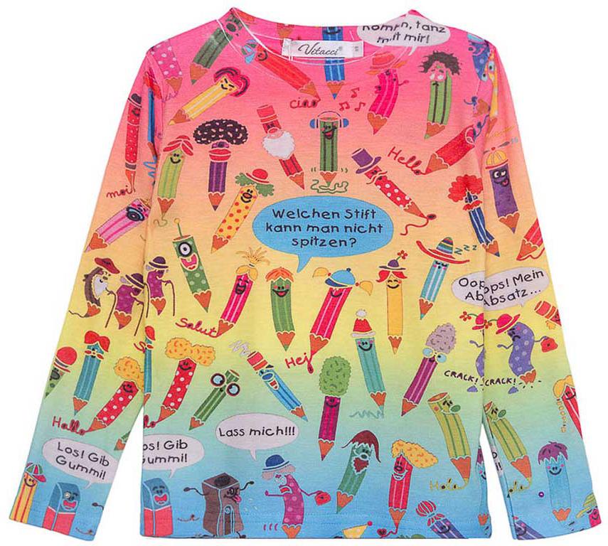 Джемпер для девочки Vitacci, цвет: мультиколор. 2171348-26. Размер 982171348-26Джемпер для девочки Vitacci выполнен из высококачественных материалов. Модель с круглым вырезом горловины и длинными рукавами, оформлена стильным принтом.