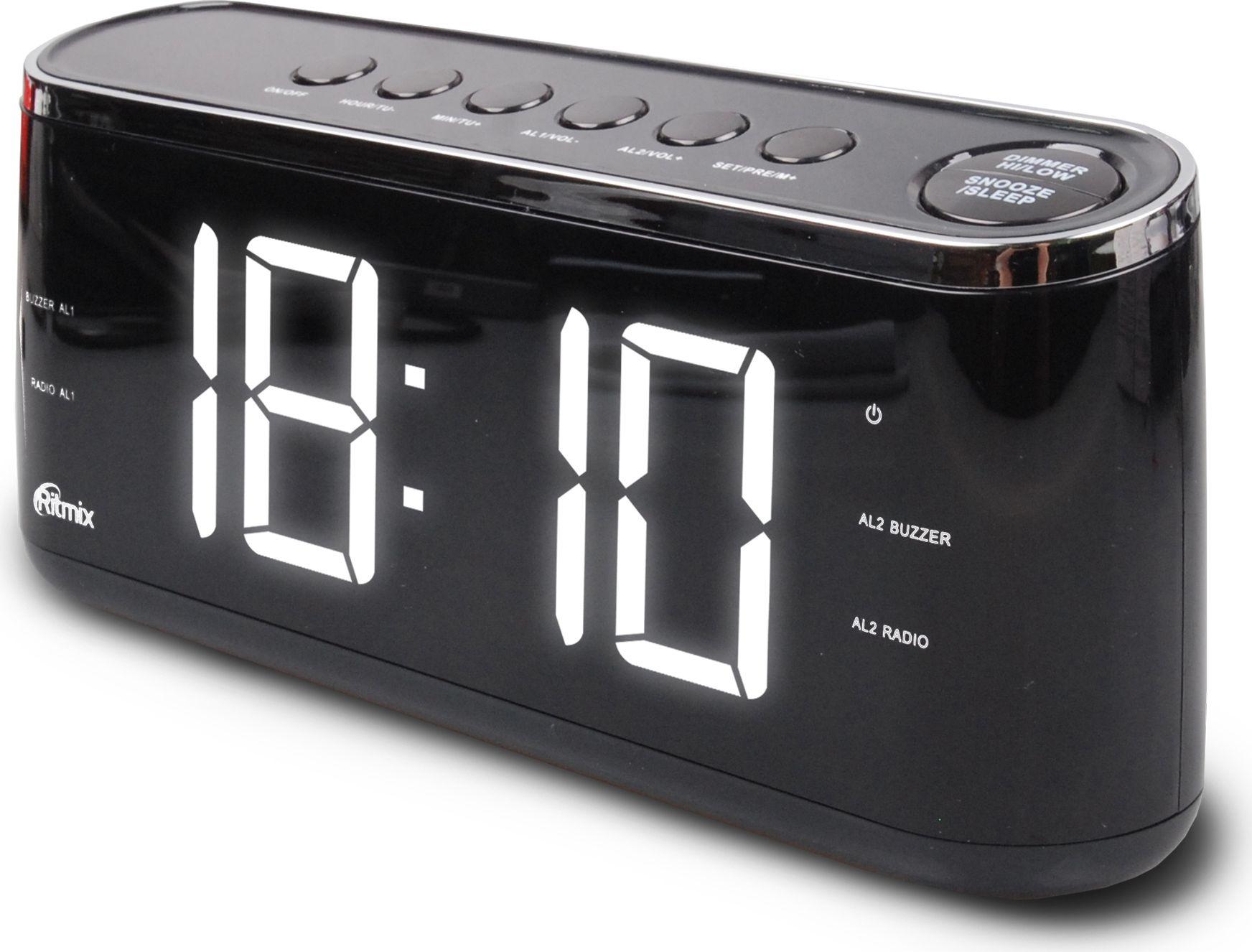 Ritmix RRC-1810, Black радио-будильник - Радиобудильники и проекционные часы