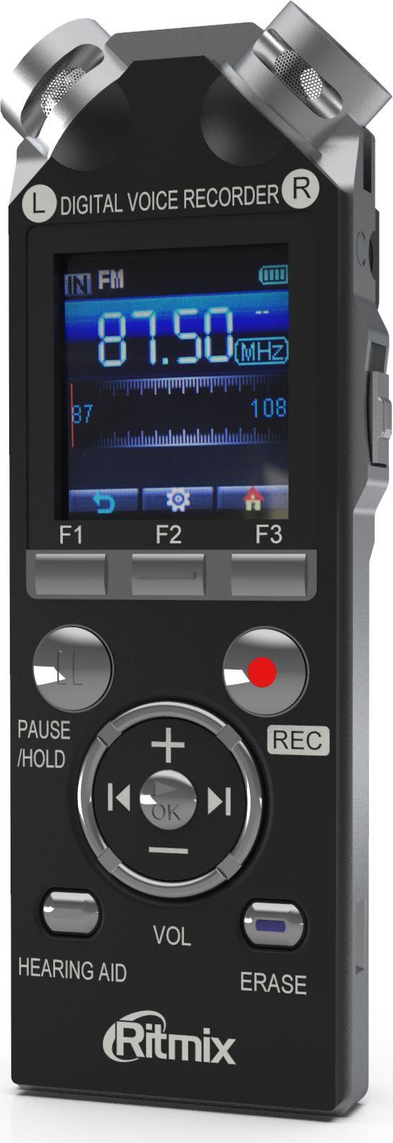 Ritmix RR-989 4GB, Black диктофон15119318Ritmix RR-989 - это цифровой диктофон с цветным ЖК-дисплеем и функцией музыкального плеера. Модель оснащена двумя встроенными высокочувствительными микрофонами, расположенными под углом 90 градусов для записи естественного стереозвука. Поддерживает различные настройки качества и режимов записи, также имеет функцию слухового аппарата и FM-радио.Диктофон интуитивно понятен в управлении, запись начинается нажатием всего одной кнопки либо при помощи голосовой активации. Данная модель имеет продвинутый набор функций и богатую комплектацию.Рабочие функции:Выбор подходящего режима записи.Голосовая активация записи.Запись по таймеру.Настройки чувствительности микрофона.Временные метки.Блокировка клавиш.Специальные возможности:Запись радиопередач.Световой индикатор записи.Функция слухового аппарата.Функция музыкального плеера.Функция съемного диска.