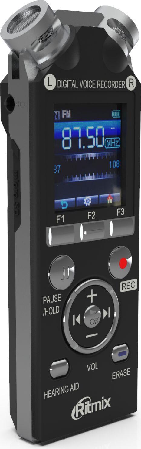 Ritmix RR-989 8GB, Black диктофон15119319Ritmix RR-989 - это цифровой диктофон с цветным ЖК-дисплеем и функцией музыкального плеера. Модель оснащена двумя встроенными высокочувствительными микрофонами, расположенными под углом 90 градусов для записи естественного стереозвука. Поддерживает различные настройки качества и режимов записи также имеет функцию слухового аппарата и FM-радио.Диктофон интуитивно понятен в управлении, запись начинается нажатием всего одной кнопки либо при помощи голосовой активации. Данная модель имеет продвинутый набор функций и богатую комплектацию.Рабочие функции:Выбор подходящего режима записи.Голосовая активация записи.Запись по таймеру.Настройки чувствительности микрофона.Временные метки.Блокировка клавиш.Специальные возможности:Запись радиопередач.Световой индикатор записи.Функция слухового аппарата.Функция музыкального плеера.Функция съемного диска.