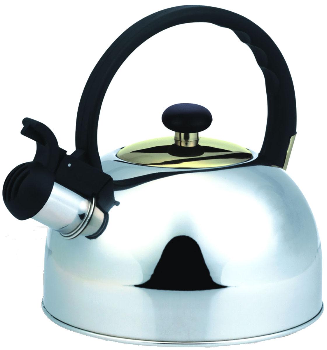 Чайник Irit, со свистком, цвет: серебристый, 2,5 лIRH-407Чайник из нержавеющей стали Объем 2,5 л, свисток, неподвижная не нагревающаяся ручка из термостойкого пластика, капсулированное дно с алюминиевой прослойкой