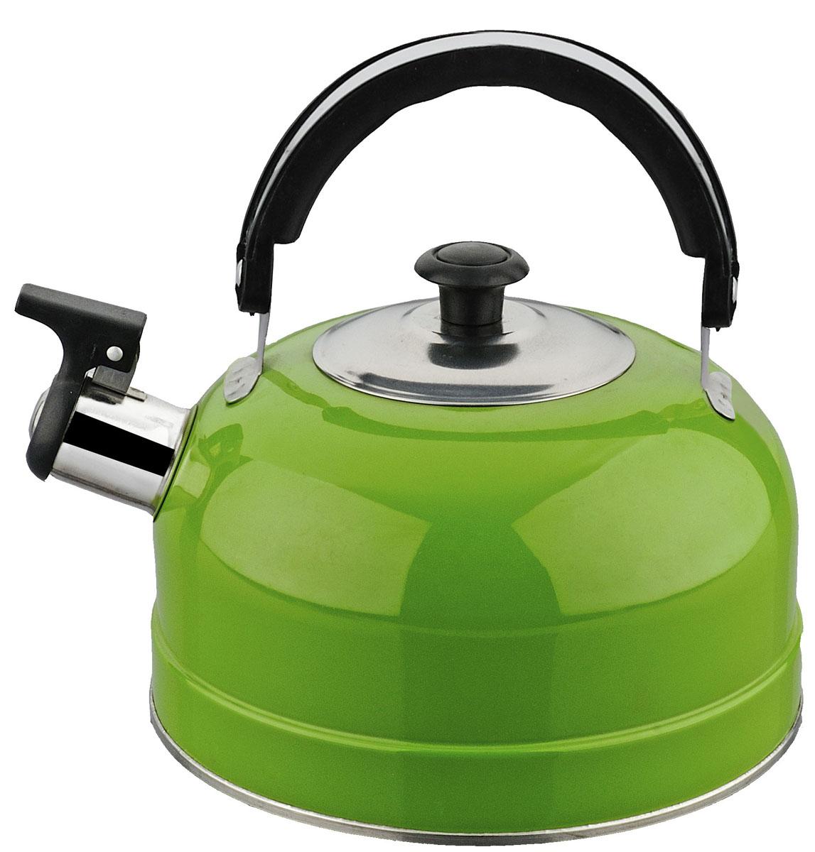 Чайник Irit, со свистком, цвет: зеленый, 2,5 л чайник riess pastell со свистком цвет розовый 2 л