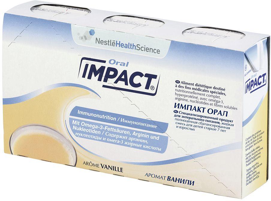 Impact Oral Vanilla Иммунопитание в перед- и послеоперационном периоде для детей старше семи лет и взрослых, 3 шт по 237 мл12172070Impact Oral (Импакт Орал) с ароматом ванили – специализированное иммунное питание для взрослых и детей старше 7 лет. Применяется для подготовки организма к операции и восстановления в постоперационный период.Рекомендуется употреблять небольшими глотками или через соломинку в течение 10-15 минут. Перед применением проконсультируйтесь со специалистом. Для взрослых и детей старше 6 лет.