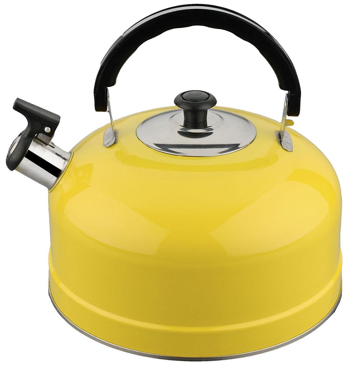 Чайник Irit, со свистком, цвет: желтый, 2,5 лIRH-418Чайник из нержав стали со свистком, объем 2,5 л. Изготовлен из высококачественной нержавеющей стали, однослойное дно. Подвижная ручка из термостойкого пластика. Ручка не нагревается. ЦВЕТ ЖЕЛТЫЙ. полезный объем 2 л
