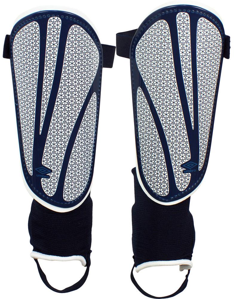 Щитки футбольные Umbro  Neo Shield Guard W/Sock , цвет: темно-синий, белый, синий. 20503U. Размер S - Футбол