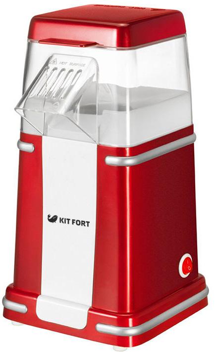 Kitfort КТ-2004, Red попкорницаКТ-2004Попкорница Kitfort КТ-2004 позволяет приготовить вкусный и полезный попкорн (воздушную кукурузу) в домашних условиях. Попкорн приготовляется горячим воздухом без добавления масла. Одна порция на 80 г приготовляется за 3-5 минут. За процессом можно наблюдать через прозрачный корпус. Верхняя крышка используется для отмеривания зерен.Пользоваться попкорницей очень просто: засыпьте зерна и включите прибор, дальнейший процесс будет происходить автоматически.Возможности и функции:- не требуется добавлять масло- быстрое приготовление- простота использования- полностью разбирается и легко моется- крышка используется как мерка- выключатель питания на корпусе