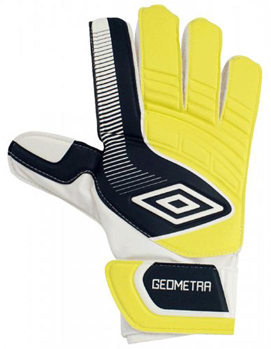 Перчатки вратарские Umbro Geometra Cup Glove, цвет: белый, темно-синий. 20390U. Размер 920390UПерчатки вратарские для игроков разного уровня подготовки. Ладонь из латекса 3мм. Вставки из сетки для вентиляции. Эмбоссированная защита зоны удара.
