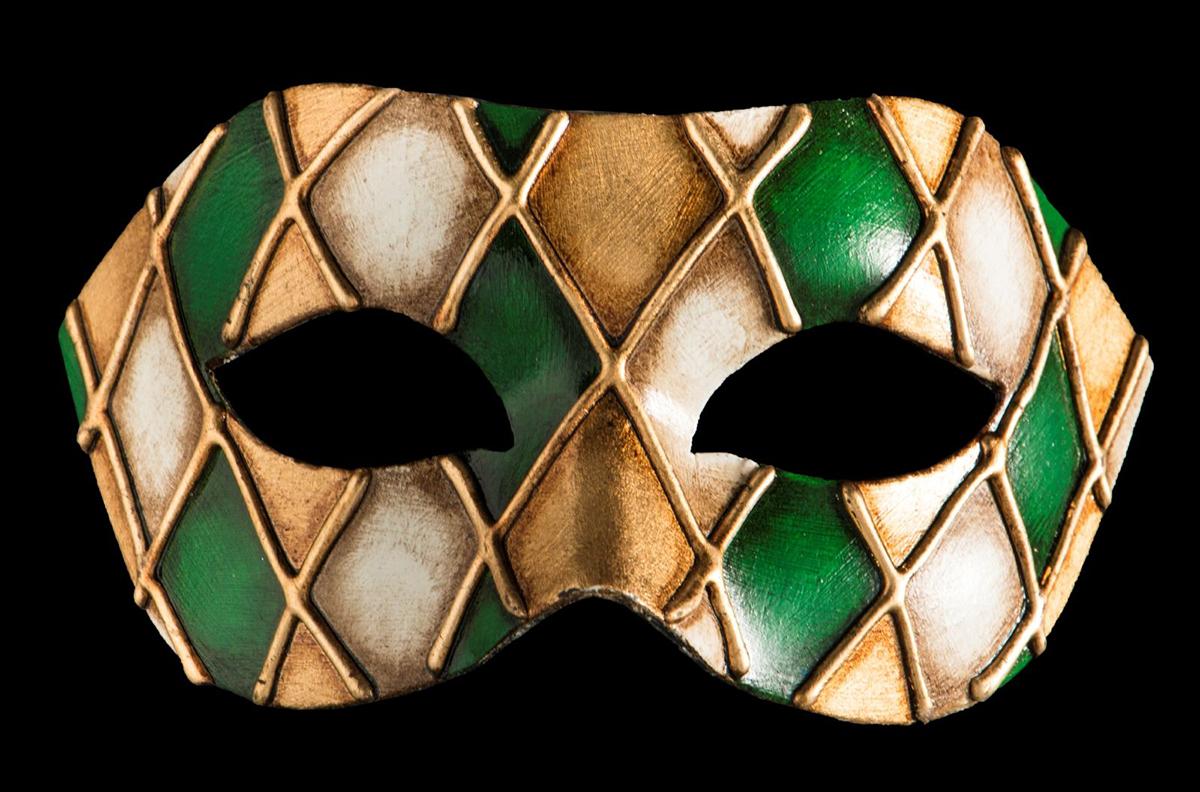 Маска карнавальная Bluemoon Venice  Arlecchino Verde , 10 ? 17 ? 10 см - Маски карнавальные