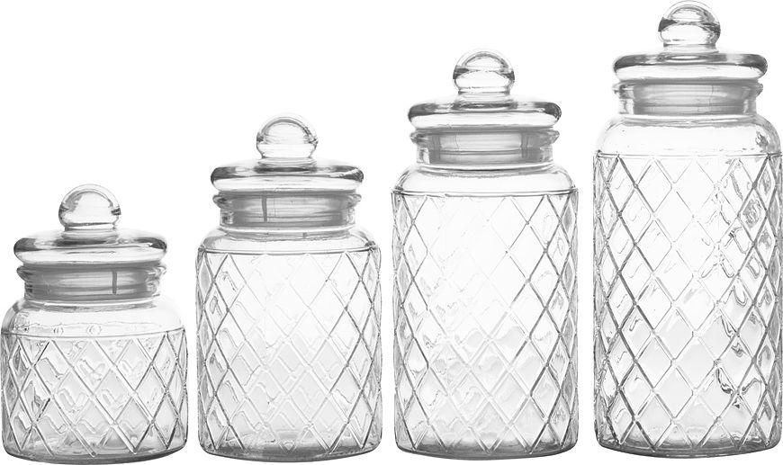 Набор банкок для сыпучих продуктов Casa Domani Решетка, 4 шт китайские медицинские стеклянные банки купить