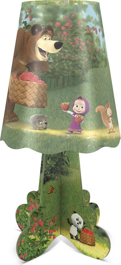 Фотон Ночник настольный Маша и Медведь Лесная ягода22975Настольный ночник с изображением популярных персонажей мультсериала Маша и Медведь станет идеальным украшением для детской комнаты. Приятный теплый свет и красочный дизайн ночника создадут атмосферу уюта. Он не нагревается в процессе работы, включается и выключается одной кнопкой. Под вашим присмотром ребенок сможет самостоятельно собрать ночничок, что способствует развитию мелкой моторики и навыков конструирования. Декоративный ночник представляет собой сборную конструкцию из легких материалов (ПВХ, картон), которая собирается и разбирается по принципу пазла. В каждую упаковку входит ночник в разобранном виде и световой элемент в виде электронной свечи с батарейками. Световой элемент может использоваться отдельно от ночника. Абажур ночника после распаковки необходимо предварительно распрямить. Подробная инструкция по сборке ночника и замене батареек указана на тыльной стороне упаковки.