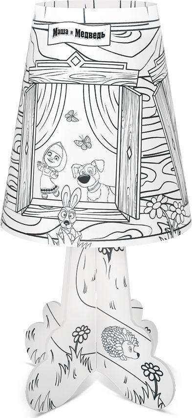 """Настольный светильник с изображением популярных персонажей  мультсериала """"Маша и Медведь"""" станет идеальным украшением для детской  комнаты. Приятный теплый свет создаст атмосферу уюта. Он не нагревается в  процессе работы, включается и выключается одной кнопкой. Под вашим  присмотром ребенок сможет самостоятельно раскрасить и собрать ночничок,  что способствует развитию мелкой моторики и навыков конструирования. Для  достижения наилучшего эффекта рекомендуется раскрашивать светильник  цветными фломастерами.   Декоративный ночник представляет собой сборную конструкцию из легких  материалов (ПВХ, картон), которая собирается и разбирается по принципу  пазла. В каждую упаковку входит ночник в разобранном виде и световой  элемент в виде электронной свечи с батарейками. Световой элемент может  использоваться отдельно от ночника. Абажур ночника после распаковки  необходимо предварительно распрямить. Подробная инструкция по сборке  ночника и замене батареек указана на тыльной стороне упаковки."""