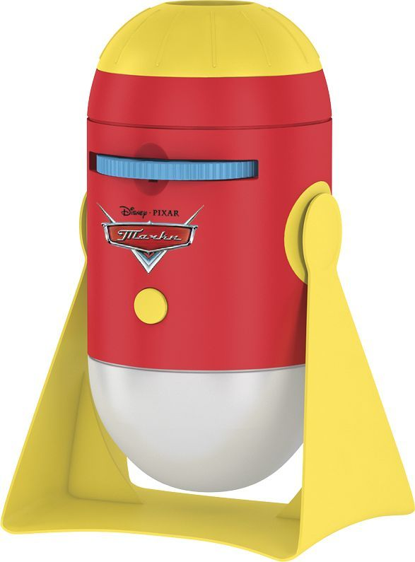 """Детский проекционный ночник, с ярким мультипликационным контентом,  объединил в себе теплые ностальгические воспоминания старшего поколения о  диафильмах и детскую любовь к популярным мульт-персонажам. Культовые  герои анимационного фильма студии Disney/Pixar """"Тачки"""" порадуют вашего  ребенка. Ночник работает в двух режимах: проецирует изображение на потолок  или освещает комнату мягким белым светом, переключается при помощи  одной кнопки. Качественные проекции любимых героев и простота в  использовании доставят малышу море удовольствия. Красочная история на 8- ми мультипликационных слайдах; проекция на любую поверхность с ручной  регулировкой фокуса; легкий и интересный способ уложить ребёнка спать.  Таймер автоотключения через 15 минут. К ночничку подходят любые диски от  мультфонариков """"ФОТОН""""."""