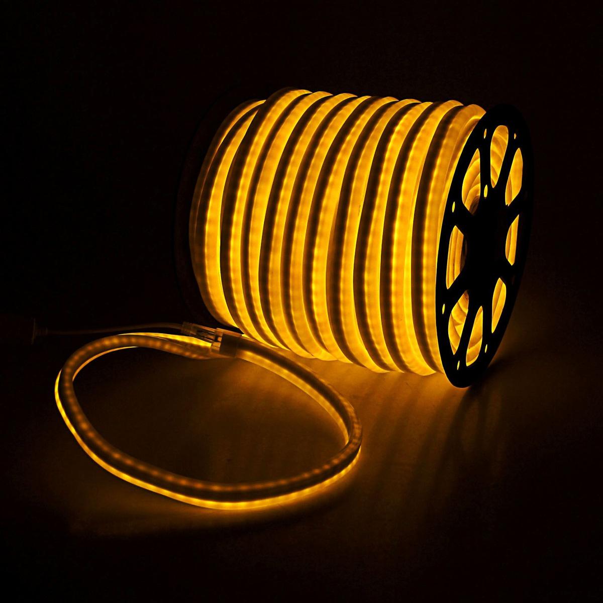 Гирлянда светодиодная Sima-land, 80 ламп, 220 V, цвет: желтый, 1,2 см х 2,4 см х 50 м. 185465185465Светодиодные гирлянды, ленты и т.д — это отличный вариант для новогоднего оформления интерьера или фасада. С их помощью помещение любого размера можно превратить в праздничный зал, а внешние элементы зданий, украшенные ими, мгновенно станут напоминать очертания сказочного дворца. Такие украшения создают ауру предвкушения чуда. Деревья, фасады, витрины, окна и арки будто специально созданы, чтобы вы украсили их светящимися нитями.