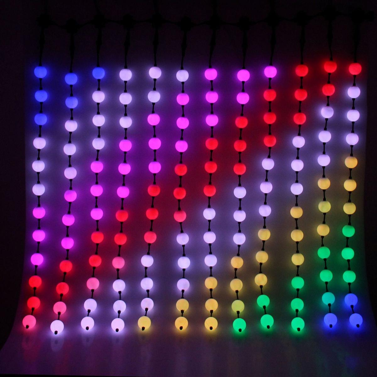 Гирлянда светодиодная Дождь. Умные шарики, 30 режимов, 144 лампы, 220 V, цвет: мультиколор, 1,2 х 1,2 м. 680483680483Светодиодные гирлянды, ленты и т.д — это отличный вариант для новогоднего оформления интерьера или фасада. С их помощью помещение любого размера можно превратить в праздничный зал, а внешние элементы зданий, украшенные ими, мгновенно станут напоминать очертания сказочного дворца. Такие украшения создают ауру предвкушения чуда. Деревья, фасады, витрины, окна и арки будто специально созданы, чтобы вы украсили их светящимися нитями.