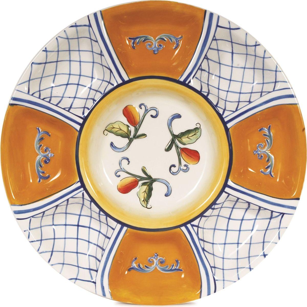 Менажница Fitz and Floyd Рикамо, 34 см63-478Менажница Fitz and Floyd Рикамоизготовлена из керамики, расписана вручную. Благодаря оригинальному элегантному дизайну идеально впишется в интерьер вашей кухни и станет достойным подарком для родных и друзей. Рекомендуется бережная ручная мойка с использованием безабразивных моющих средств. Диаметр: 34 см.