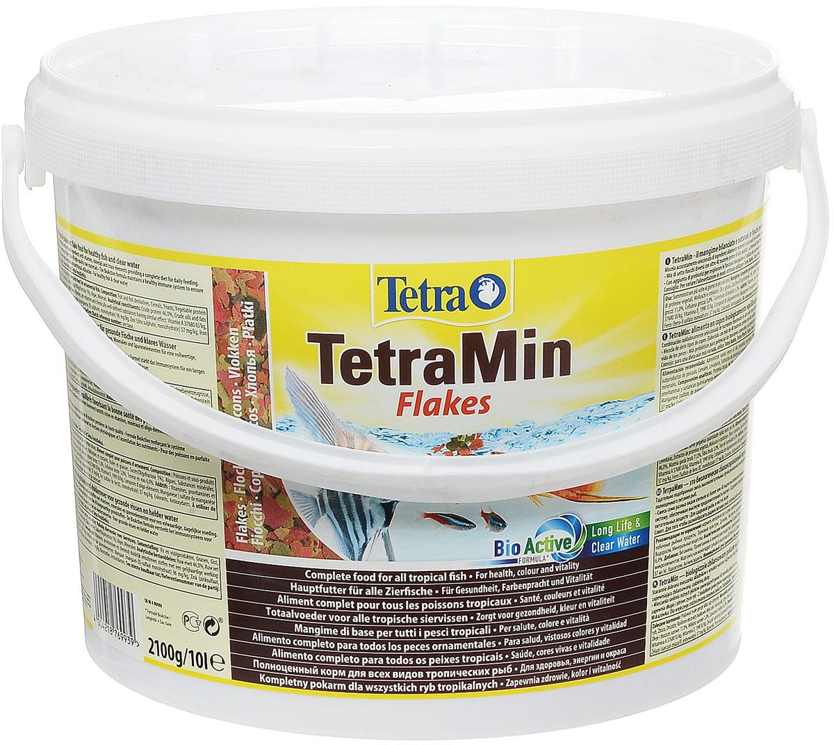 Корм Tetra TetraMin для всех видов тропических рыб, крупные хлопья, 10 л (2,1 кг) корм tetra tetramin xl flakes complete food for larger tropical fish крупные хлопья для больших тропических рыб 10л 769946