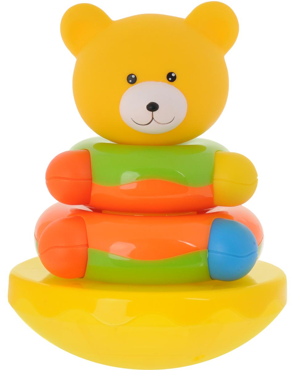 Мир детства Пирамидка Мишка-топтыжка цвет желтый оранжевый салатовый игрушка пирамидка мишка топтыжка