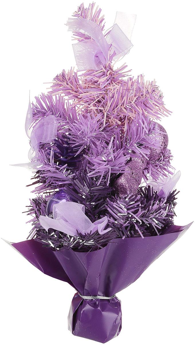 Ель искусственная Sima-Land Новогодняя елочка, настольная, высота 30 см. 542621542621Декоративное украшение, выполненное из пластика - мини-елочка фиолетового цвета для оформления интерьера к Новому году. Ее не нужно ни собирать, ни наряжать, зато настроение праздника она создает очень быстро. Елка украшена шишками, лентами, елочными игрушками и шариками. Елка украсит интерьер вашего дома или офиса к Новому году и создаст теплую и уютную атмосферу праздника.Откройте для себя удивительный мир сказок и грез. Почувствуйте волшебные минуты ожидания праздника, создайте новогоднее настроение вашим дорогим и близким. Характеристики:Материал: пластик, металл, текстиль. Цвет: фиолетовый. Размер елочки: 17 см х 17 см х 31 см. Артикул: 542621.
