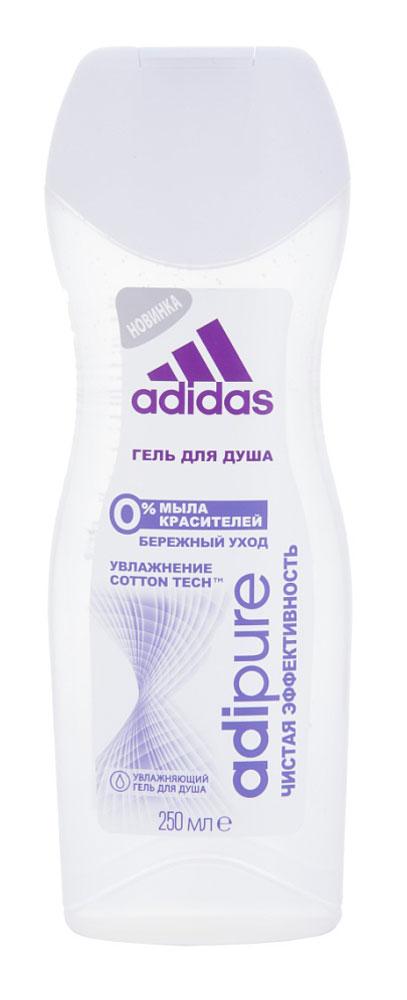 Adidas Гель для душа Adipure женский, 250 мл34013151052Гель для душа Adipure со специальной формулой для чистой эффективности и ухода за кожей. Гель для душа adipure обеспечивает бережное очищение и ощущение свежести. Для мягкой и увлажненной кожи. Формула:0% мыла;0% красителей;Ph сбалансирован.Содержит комплекс cotton-tech с увлажняющими компонентами и экстрактом хлопка. Абсорбирующая технология. 0% солей алюминия. Чистая эффективность. Прозрачная текстура.Уважаемые клиенты! Обращаем ваше внимание на возможные изменения в дизайне упаковки. Качественные характеристики товара остаются неизменными. Поставка осуществляется в зависимости от наличия на складе.