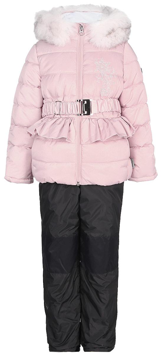 Комплект для девочки Boom!: куртка, брюки, цвет: кремовый. 70469_BOG_вар.1. Размер 110, 5-6 лет70469_BOG_вар.1Теплый комплект для девочки Boom! идеально подойдет вашей дочурке в холодное время года. Комплект состоит из куртки и брюк, изготовленных из курточного атласа с утеплителем из синтепона. Куртка на мягкой флисовой подкладке застегивается на пластиковую застежку-молнию. Курточка дополнена несъемным капюшоном, декорированным меховой опушкой. Низ рукавов дополнен внутренними трикотажными манжетами, которые мягко обхватывают запястья. Куртка дополнена эластичным пояском с металлической пряжкой и оформлена декоративной рюшей.Брюки застегиваются на застежку-молнию.Комфортный, удобный и практичный комплект идеально подойдет для прогулок и игр на свежем воздухе!