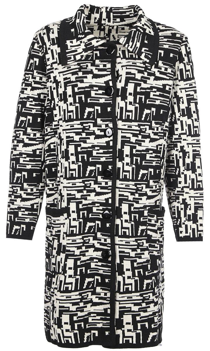 Пальто женское Milana Style, цвет: черный, белый. 1411. Размер 621411Пальто от Milana Style полуприлегающего силуэта с застежкой на пуговицы и длинными рукавами. Интересное жаккардовое переплетение создает геометрический узор.