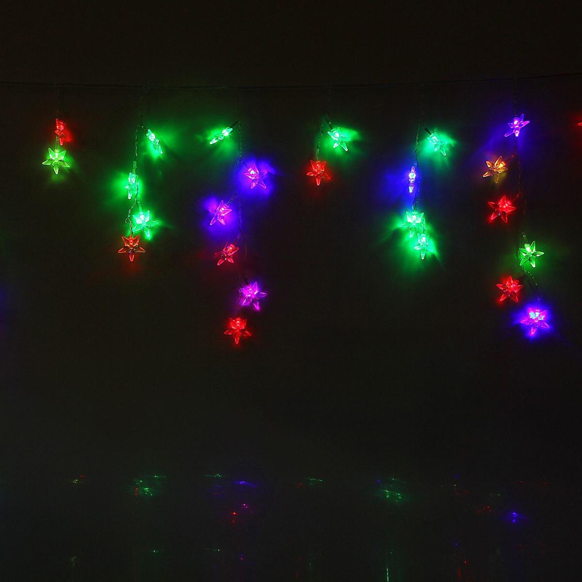 Гирлянда светодиодная Luazon Бахрома. Звезда средняя, 48 ламп, 220 V, цвет: мультиколор, 1,4 х 0,3 м. 10804401080440Светодиодные гирлянды, ленты и т.д — это отличный вариант для новогоднего оформления интерьера или фасада. С их помощью помещение любого размера можно превратить в праздничный зал, а внешние элементы зданий, украшенные ими, мгновенно станут напоминать очертания сказочного дворца. Такие украшения создают ауру предвкушения чуда. Деревья, фасады, витрины, окна и арки будто специально созданы, чтобы вы украсили их светящимися нитями.