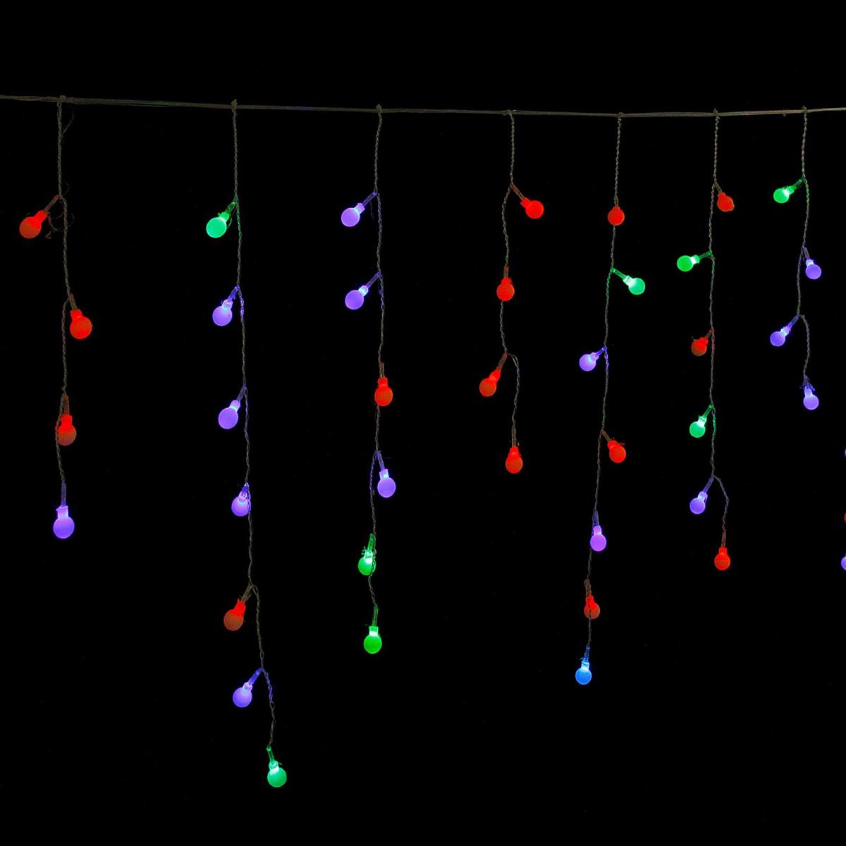 Гирлянда светодиодная Luazon Бахрома. Шарики, 100 ламп, 220 V, цвет: мультиколор, 2,8 х 0,6 м. 671643671643Светодиодные гирлянды, ленты и т.д — это отличный вариант для новогоднего оформления интерьера или фасада. С их помощью помещение любого размера можно превратить в праздничный зал, а внешние элементы зданий, украшенные ими, мгновенно станут напоминать очертания сказочного дворца. Такие украшения создают ауру предвкушения чуда. Деревья, фасады, витрины, окна и арки будто специально созданы, чтобы вы украсили их светящимися нитями.
