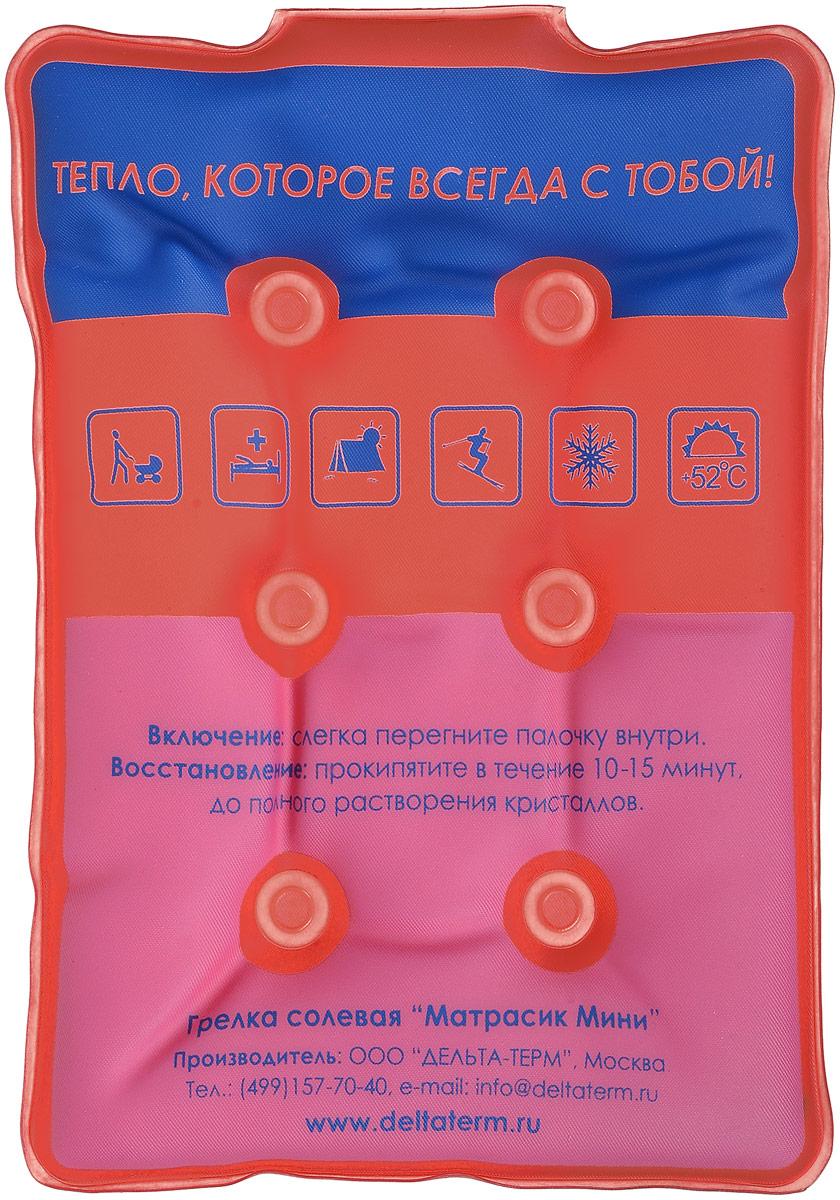Грелка солевая Дельтатерм Матрасик мини, цвет: синий, красный, розовый00-00000212_синий, красный, розовыйГрелка солевая Дельтатерм Матрасик мини выполнена из очень прочной пленки ПВХ и наполнена раствором соли. В растворе плавает палочка-пускатель, которую достаточно слегка перегнуть и моментально начинается процесс кристаллизации соли с выделением тепла до температуры +52°C.Солевая грелка - это замечательное физиотерапевтическое средство. Солевая грелка глубоко прогреет область уха, горла или носа, суставов. При этом она абсолютно безопасна! Температура нагрева до +52°С рекомендована врачами, как оптимальная для физиотерапевтических процедур, и исключает возможность ожога или перегрева. Вы можете использовать солевую грелку многократно! Просто прокипятите грелку в течение 15 минут, и она снова готова к работе!ВНИМАНИЕ! Если грелка не запустилась с первого раза, то ее необходимо прокипятить.Грелку можно использовать в качестве холодного компресса. Поместите незапущенную грелку в холодильную камеру на 30-40 минут, за это время она охладится до +4°С - +6°С. Такой компресс в 3 раза дольше сохраняет холод, чем лед.ВНИМАНИЕ! Не помещайте горячую грелку в холодильник - это может привести к поломке холодильника. Не помещайте грелку в твердом (запущенном состоянии), т.к. в дальнейшем ее будет неудобно использовать в качестве компресса. Не помещайте грелку в морозильную камеру холодильника, так как при -8°С грелка самокристаллизуется. Материал: ПВХ, солевой раствор.