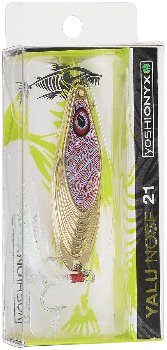 Блесна Yoshi Onyx Yalu Nose, флуоресцентная, цвет: белый, золотой, 21 г95694Блесна Yoshi Onyx Yalu Nose имеет уникальную геометрию, что открывает бесконечный простор для творчества. Возможны практически любые анимации. Ритмичная размеренная пульсация, на скоростной прямой проводке, имитирует убегающую в панике рыбку, хаотическое качание из стороны в сторону, на рывковой ступенчатой проводке, напоминают деловитую суету, кормящегося малька, а нервный трепет, при свободном падении, довольно точно, воспроизводит движения резвящейся в толще воды молоди. Блесна обладает флуоресцентными свойствами (светится в темноте зеленым цветом), благодаря чему ее будет видно даже в глубоких слоях воды.Размер: 12 х 2 х 0,7 см.Какая приманка для спиннинга лучше. Статья OZON Гид