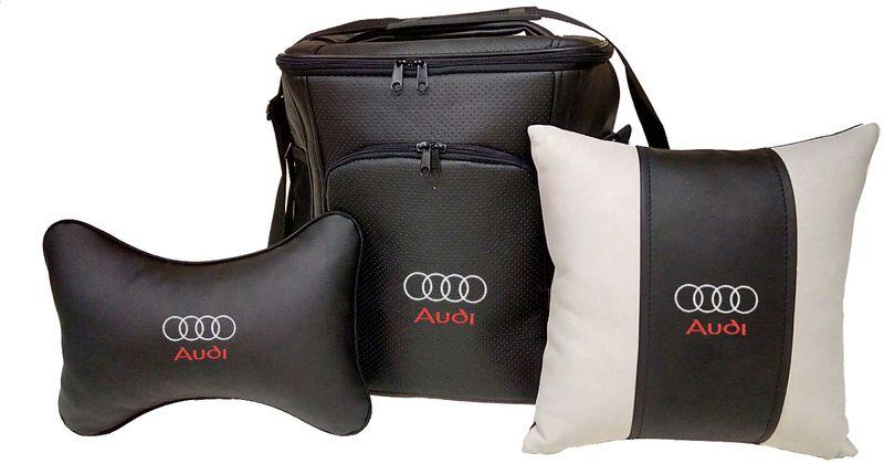 Подарочный набор автомобилисту Auto Premium Audi, 3 предмета. 6740167401Подарочный набор Auto Premium состоит из термосумки объемом 20 л, декоративной подушки в салон автомобиля и подушки на подголовник. При производстве используются качественные и износостойкие материалы, что позволяет долгое время сохранять презентабельный внешний вид изделия. Подушка на подголовник будет удобна в использовании как водителю, так и пассажиру. Все изделия выполнены в едином стиле, с нанесением вышивки марки автомобиля. Такой набор будет великолепным подарком друзьям или родственникам. Вы так же с легкостью сможете подчеркнуть свою индивидуальность.