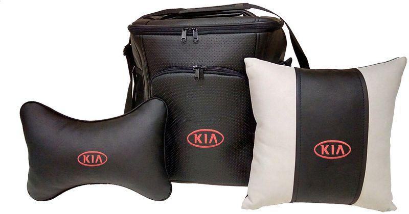 Подарочный набор автомобилисту Auto Premium Kia, 3 предмета. 6741567415Подарочный набор состоит из термосумки объемом 20 л, декоративной подушки в салон автомобиля и подушки на подголовник. При производстве используются качественные и износостойкие материалы, что позволяет долгое время сохранять презентабельный внешний вид изделия. Подушка на подголовник будет удобна в использовании как водителю, так и пассажиру. Все изделия выполнены в едином стиле, с нанесением вышивки марки автомобиля. Такой набор будет великолепным подарком друзьям или родственникам. Вы так же с легкостью сможете подчеркнуть свою индивидуальность.