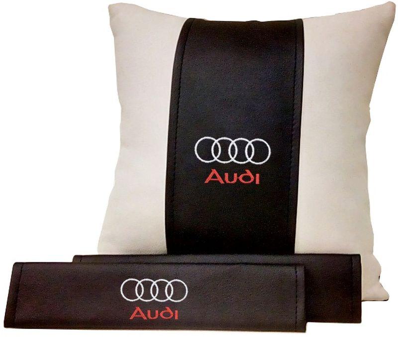 Подарочный набор автомобилисту Auto Premium Audi, 2 предмета. 6750167501Подушка в салон автомобиля и накладки на ремень безопасности выполнены в едином стиле. Нанесение вышивки на изделия добавляет индивидуальности. Порадуйте своих близких эксклюзивным подарком.