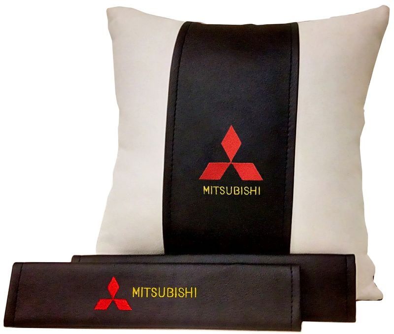 Подарочный набор автомобилисту Auto Premium Mitsubishi, 2 предмета. 6750867508Подушка в салон автомобиля и накладки на ремень безопасности выполнены в едином стиле. Нанесение вышивки на изделия добавляет индивидуальности. Порадуйте своих близких эксклюзивным подарком.