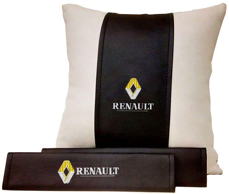 Подарочный набор автомобилисту Auto Premium Renault, 2 предмета. 6751467514Подушка в салон автомобиля и накладки на ремень безопасности выполнены в едином стиле. Нанесение вышивки на изделия добавляет индивидуальности. Порадуйте своих близких эксклюзивным подарком.
