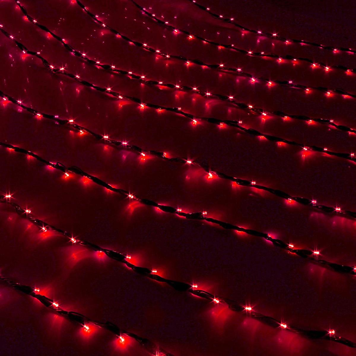 Гирлянда светодиодная Luazon Дождь, уличная, 8 режимов, 1500 ламп, 220 V, цвет: красный, 2 х 6 м. 187312 гирлянда светодиодная luazon дождь уличная 8 режимов 400 ламп 220 v цвет мультиколор 2 х 1 5 м 671675
