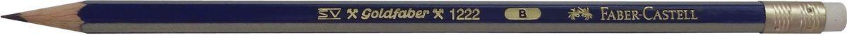 Faber-Castell Карандаш чернографитный Goldfaber 1222 B116801Чернографитовый карандашGoldfaber 1221, • шестигранный карандаш очень хорошегокачества• 12 степеней твердости грифеля• привлекательный дизайн – синие и золотыеполоски, качественная мягкая древесина для хорошегозатачивания• специальная SV технология вклеиванияпредотвращает поломку грифеля при падении• покрыты лаком на водной основе, твердость B с ластиком