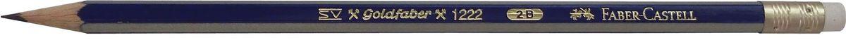 Faber-Castell Карандаш чернографитный Goldfaber 1222 2B116802Чернографитовый карандашGoldfaber 1221, • шестигранный карандаш очень хорошегокачества• 12 степеней твердости грифеля• привлекательный дизайн – синие и золотыеполоски, качественная мягкая древесина для хорошегозатачивания• специальная SV технология вклеиванияпредотвращает поломку грифеля при падении• покрыты лаком на водной основе, твердость 2B с ластиком