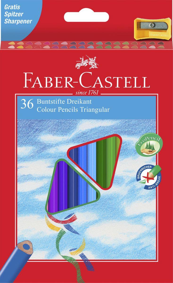 Faber-Castell Набор цветных карандашей Eco с точилкой 36 шт120536Трехгранные цветные карандашис точилкой,эргономичная трехгранная форма• яркие, насыщенные цвета• отстирываются с большинства обычных тканей• специальная технология вклеивания (SV)предотвращает поломку грифеля• покрыты лаком на водной основе – бережнымпо отношению к окружающей среде и здоровьюдетей• качественная древесина – гарантия легкогозатачивания при помощи стандартных точилок, в карт. коробке, 36 шт., с точилкой