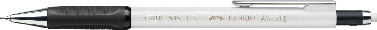 Faber-Castell Карандаш механический Grip 1345 0,5 мм цвет корпуса белый134501Механический карандаш Grip 1345,• антискользящая резиновая область захвата • убирающийся внутрь кончик • упругий клип и металлический наконечник • экстрадлинный выдвижной ластик • привлекательные цвета металлик • толщина грифеля: 0,5 мм (1345)