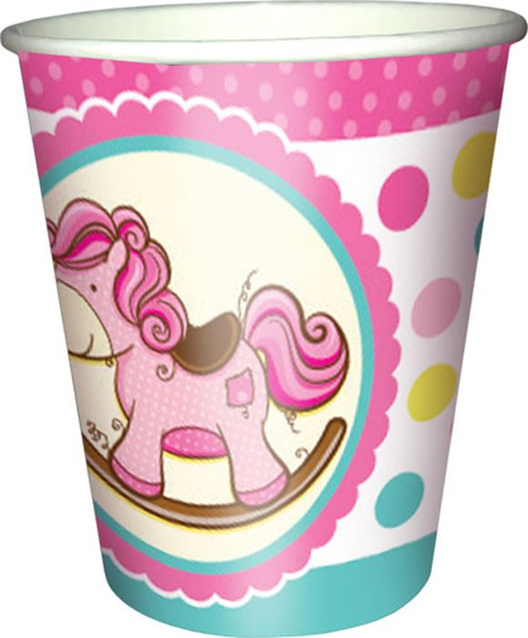 Пати Бум Стакан бумажный Лошадка Малыш цвет розовый 250 мл 6 шт пати бум салфетки горошек цвет красный 12 шт