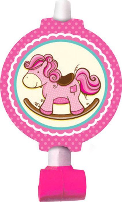 Пати Бум Язык-гудок с карточкой Лошадка Малышка розовая 6 шт -  Аксессуары для детского праздника