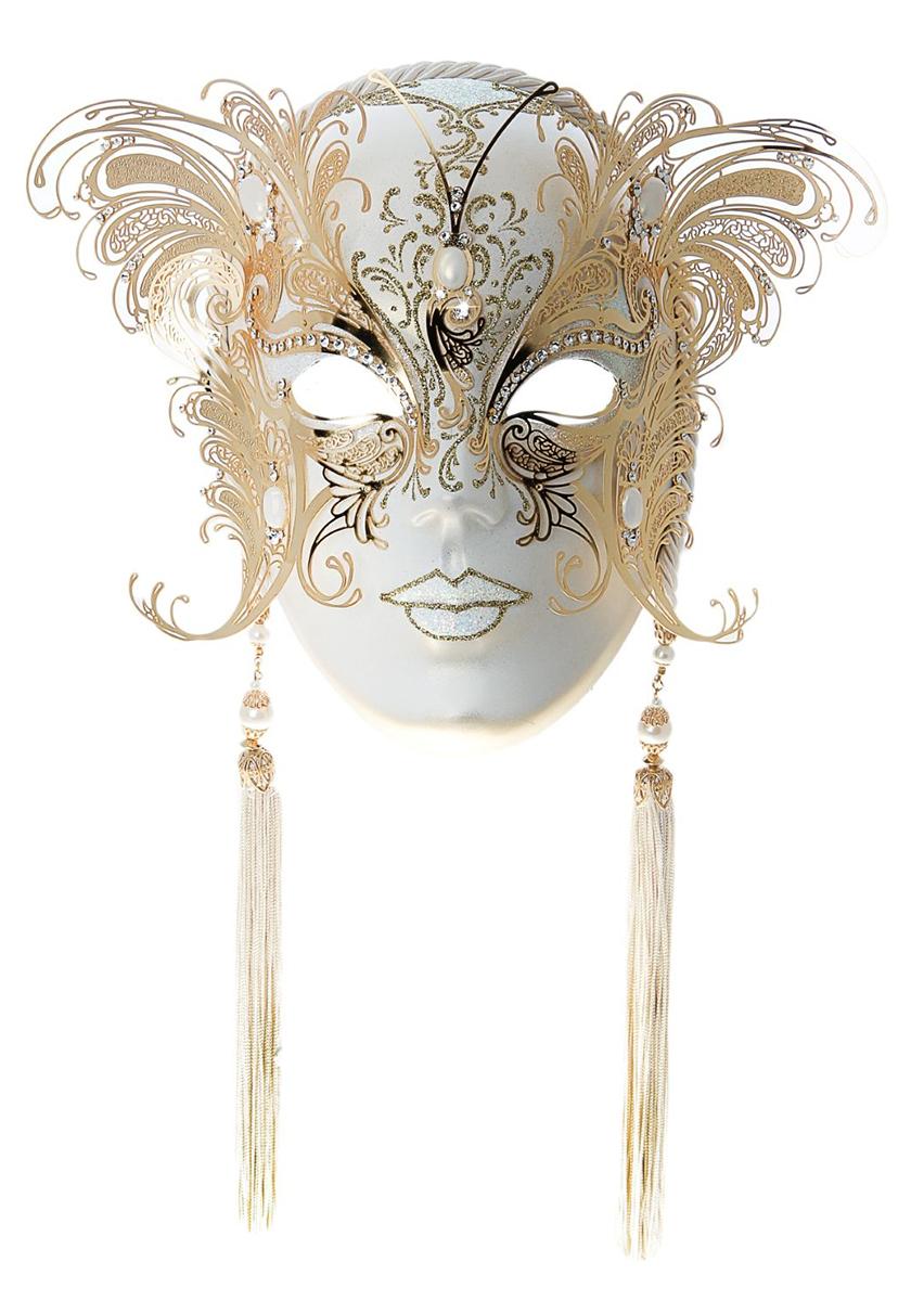 Маска карнавальная Bluemoon Venice  Volto Papillon Bianco Oro , 10 ? 15 ? 23 см - Маски карнавальные