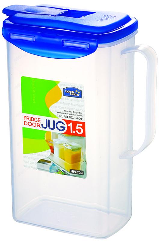 Контейнер пищевой Lock&Lock, цвет: прозрачный, синий, 1,5 лHPL733Универсальный пищевой контейнер Lock&Lock подходит как для сухих круп, так и для жидкостей (сок, молоко, компот и другие). Контейнер выполнен из высококачественного пластика, который не содержит Бисфенол-А, не выделяет вредных веществ.