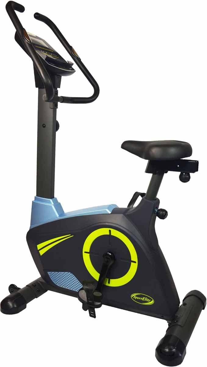 Велотренажер SportElite SE-500D, магнитныйSE-500DТренажер Магнитный велотренажер Sport Elite-500D тренажер для эффективной тренировки всего тела, он имеет плавную и бесшумную систему сопротивления и прочную стальную конструкцию. Тренажер имеет восемь уровней сопротивления, одометр, легко читаемый дисплей и оригинальный дизайн. Тренируйте сердечно-сосудистую систему с помощью тренажера велотренажер и забудьте о докторах и болезнях !Отличный выбор для начинающих и для тех , кто желает поддержать своё тело в форме!Велотренажёр предлагает восемь уровней сопротивления, которые контролируются с помощью ручного управления. Педали оснащены специальными ремнями для эффективного педалирования и Вашей безопасности. Легкий для чтения монитор показывает время тренировки, скорость, расстояние, частоту сердечных сокращений и количество сожжённых калорий (текущее и полное). Тренажер также оснащен одометром, который измеряет пройденный путь. Инновационная форма компьютера позволяет использовать его в качестве держателя для телефона/планшета/МР3 плеера. Колёсики для удобного перемещения. Основные характеристикиИспользование: домашнееТип: вертикальныйСистема нагрузки: магнитнаяМаксимальный вес пользователя: 150 кгИзмерение пульса: сенсорные датчикиКоличество уровней нагрузки: 8Монитор и программыКонсоль: черно - белый LCD дисплейПоказания консоли: время тренировки, пройденная дистанция, скорость, расход калорий, пульс, одометрСпециальные программные возможности: нетМногоязычный интерфейс: нетДополнительные характеристикиПедальный узел:3-х компонентныйТранспортировочные ролики: ДаРама: стальнаяВозможность программирования тренировки: НетРегулировка руля: Регулировка положения сидения по вертикали и горизонталиСидение: комфортабельное Габариты и вес тренажераВес тренажера: 37 кгВес тренажера в упаковке: 41кгГабариты тренажера: 105х 60х 140смРазмеры упаковки: 97х 32х 66Страна производитель: КитайГарантия: 18 месяцев.