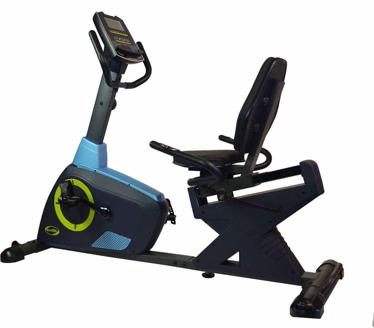 Велотренажер SportElite SE-503R, горизонтальныйSE-503RДавно доказано, что тренировки на велотренажёре с горизонтальной посадкой спортсмена эффективней традиционных вертикальных тренажёров. На подобных домашних тренажёрах тренирующийся сбрасывает вес в два раза быстрее благодаря комфортной посадке. Кроме того, на горизонтальном велотренажёре отсутствует не желательная нагрузка на позвоночник и дополнительно включается пресс. Горизонтальный велотренажёр Sport Elite-503R отлично подойдёт для восстановления после травмы, для пожилых людей. Магнитная система изменения нагрузки 8 уровней. Широкое удобное кресло со спинкой, мягкие ручки на руле и рядом с сидением. Удобный компьютер с крупными обозначениями на дисплее. Датчики измерения пульса на ручках рядом с сидением. Регулировка расстояния от сидения до педалей/руля. Регулировка ножек. Транспортировочные ролики. Инновационная форма компьютера позволяет использовать его в качестведержателя для телефона/планшета/МР3 плеера. Сканирующий режим работы компьютера: пульс, дистанция, время, скорость, потраченные калории, скан, оценка восстановления, одометр.Основные характеристикиИспользование: домашнееТип: горизонтальныйСистема нагрузки: магнитнаяМаксимальный вес пользователя: 150 кгВелоэргометр: НетИзмерение пульса: сенсорные датчикиКоличество уровней нагрузки: 8Монитор и программыКонсоль: LCD дисплей с крупным обозначением на дисплееПоказания консоли: Пульс, дистанция, время, скорость, потраченные калории, скан, оценка восстановления, одометрКоличество программ: нетСпециальные программные возможности: нетДополнительные характеристикиТранспортировочные ролики: ДаРама: СтальнаяВозможность программирования тренировки: НетРегулировка руля: НетРегулировка положения сидения по горизонтали Сидение: Комфорт, 60 ммПитание: Не требует подключения к сетиГабариты и вес тренажераВес тренажера: 50 кгВес в упаковке:58кгГабариты тренажера: 182х 73х 123 смСтрана производитель: КитайГарантия: 18 месяцев