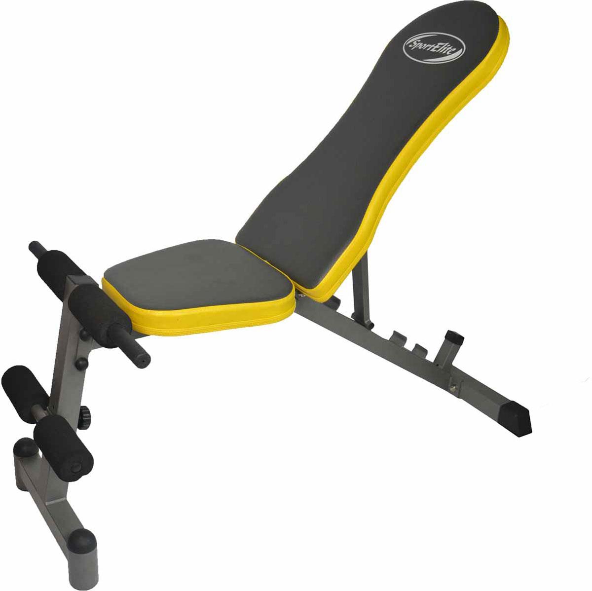 Cкамья для пресса Sport Elite SE808 относится к универсальным тренажерам, поскольку сфера её использования распространяется не только на упражнения для пресса. Эта скамья может применяться в качестве горизонтальной поверх ности для упражнений с гантелями. На скамье для пресса Sport Elite SE808 вы можете поднимать ноги и туловище, тренировать длинные мышцы спины, делать упражнения с гантелями.Надежная конструкция позволяет заниматься на тренажере пользователям весом до 120 килограмм . Валики для ног регулируются по высоте, и каждый пользователь может настроить их под себя. Наклон скамьи также можно регулировать – есть 4 наклонных положений и горизонтальное положение. Удобная эргономичная спинка и валики для ног избавляют от дискомфорта во время тренировки, делая её максимально продуктивной.Основные характеристики Изменения высоты: ЕстьИзменение положения валиков: ЕстьПодушка: мягкая, 50 ммГабариты тренажера 125 х 59 х 129 смГабариты тренажера в упаковке 120 х 44 х 21 смВес (кг) 14,5 кгВес в упаковке (кг) 17 кгСтрана производитель: КитайГарантия 18 месяцев.